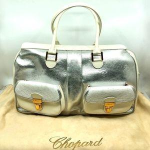 Chopard Silver Metallic Patent Leather Bag